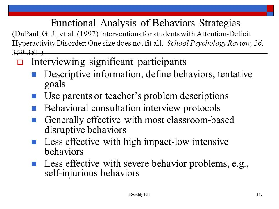 Reschly RTI115 Functional Analysis of Behaviors Strategies (DuPaul, G. J., et al. (1997) Interventions for students with Attention-Deficit Hyperactivi