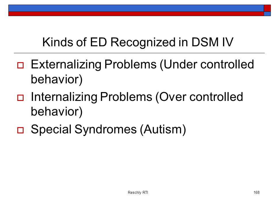 Reschly RTI168 Kinds of ED Recognized in DSM IV Externalizing Problems (Under controlled behavior) Internalizing Problems (Over controlled behavior) S