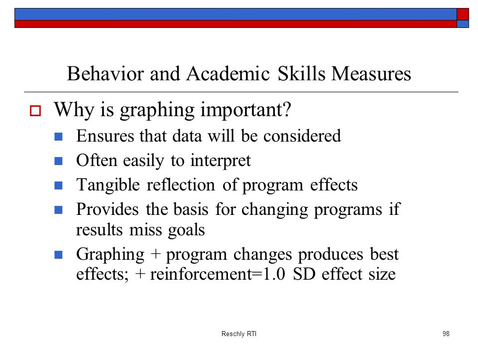 Reschly RTI98 Behavior and Academic Skills Measures Why is graphing important? Ensures that data will be considered Often easily to interpret Tangible