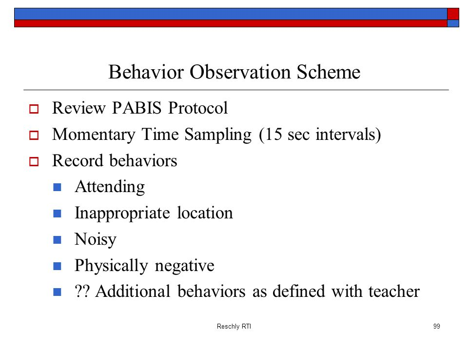 Reschly RTI99 Behavior Observation Scheme Review PABIS Protocol Momentary Time Sampling (15 sec intervals) Record behaviors Attending Inappropriate lo