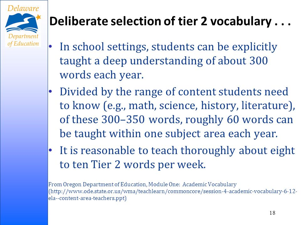Deliberate selection of tier 2 vocabulary...