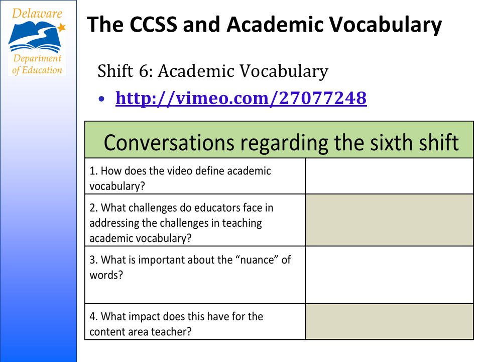 The CCSS and Academic Vocabulary Shift 6: Academic Vocabulary   8