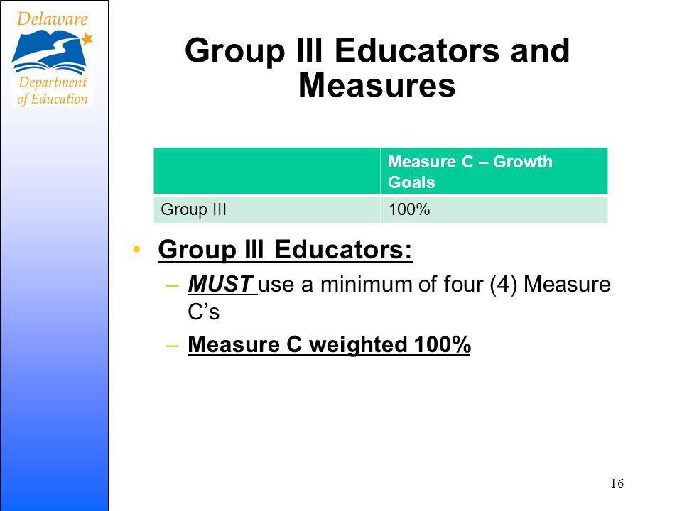 Group III Educators and Measures Group III Educators: –MUST use a minimum of four (4) Measure Cs –Measure C weighted 100% Measure C – Growth Goals Gro