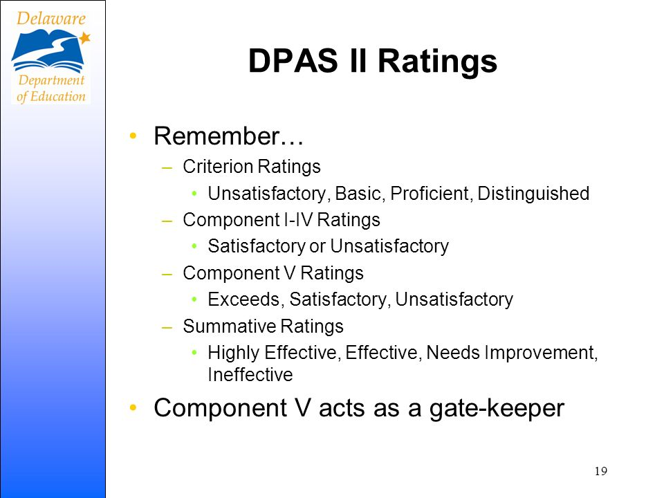 DPAS II Ratings Remember… –Criterion Ratings Unsatisfactory, Basic, Proficient, Distinguished –Component I-IV Ratings Satisfactory or Unsatisfactory –