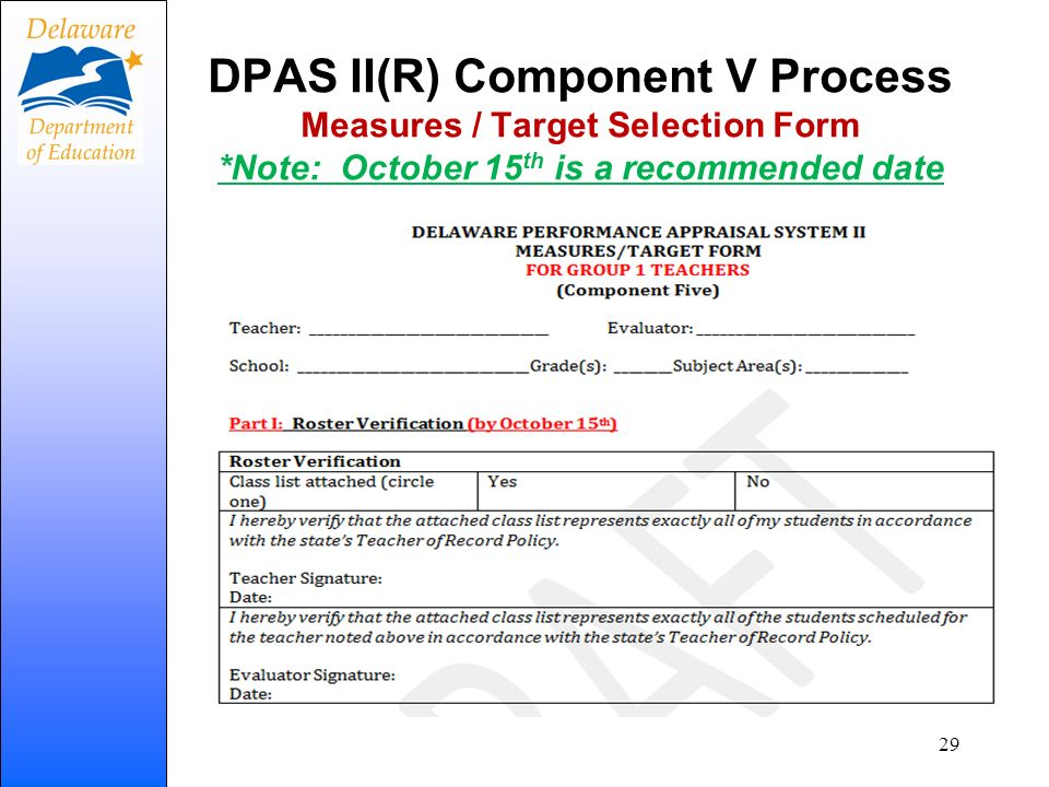 DPAS II(R) Component V Process Measures / Target Selection Form *Note: October 15 th is a recommended date 29
