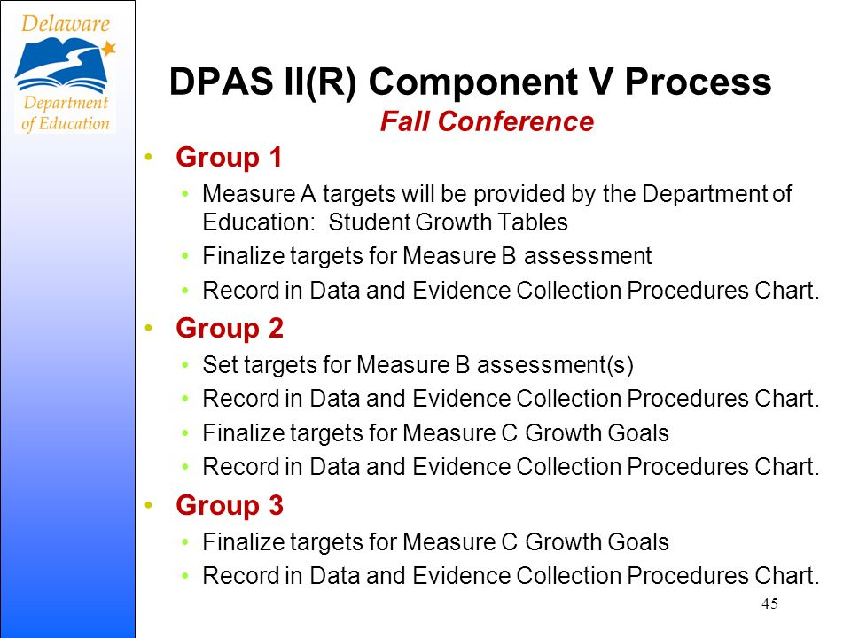 DPAS II(R) Component V Process Fall Conference Group 1 Measure A targets will be provided by the Department of Education: Student Growth Tables Finali