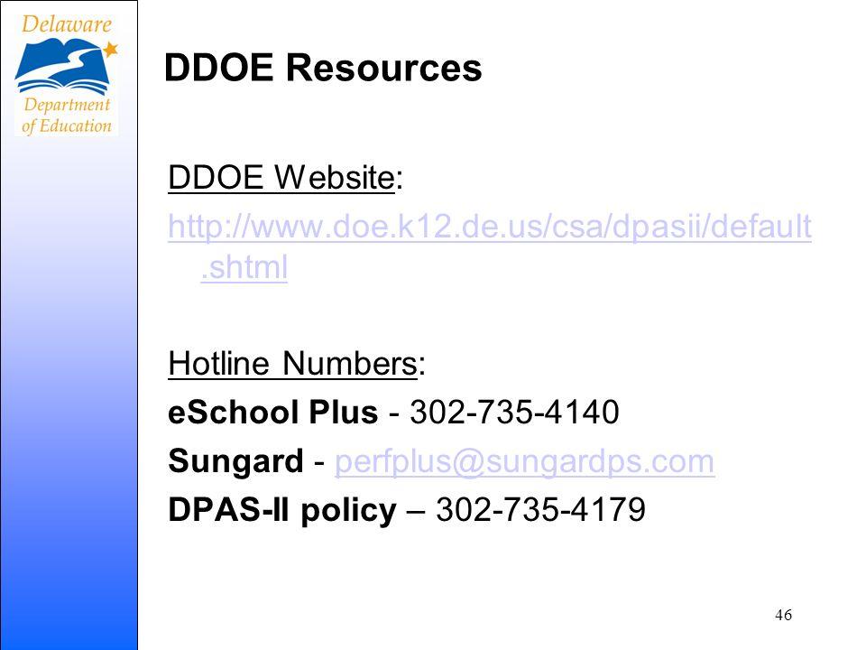 DDOE Resources DDOE Website: http://www.doe.k12.de.us/csa/dpasii/default.shtml Hotline Numbers: eSchool Plus - 302-735-4140 Sungard - perfplus@sungard