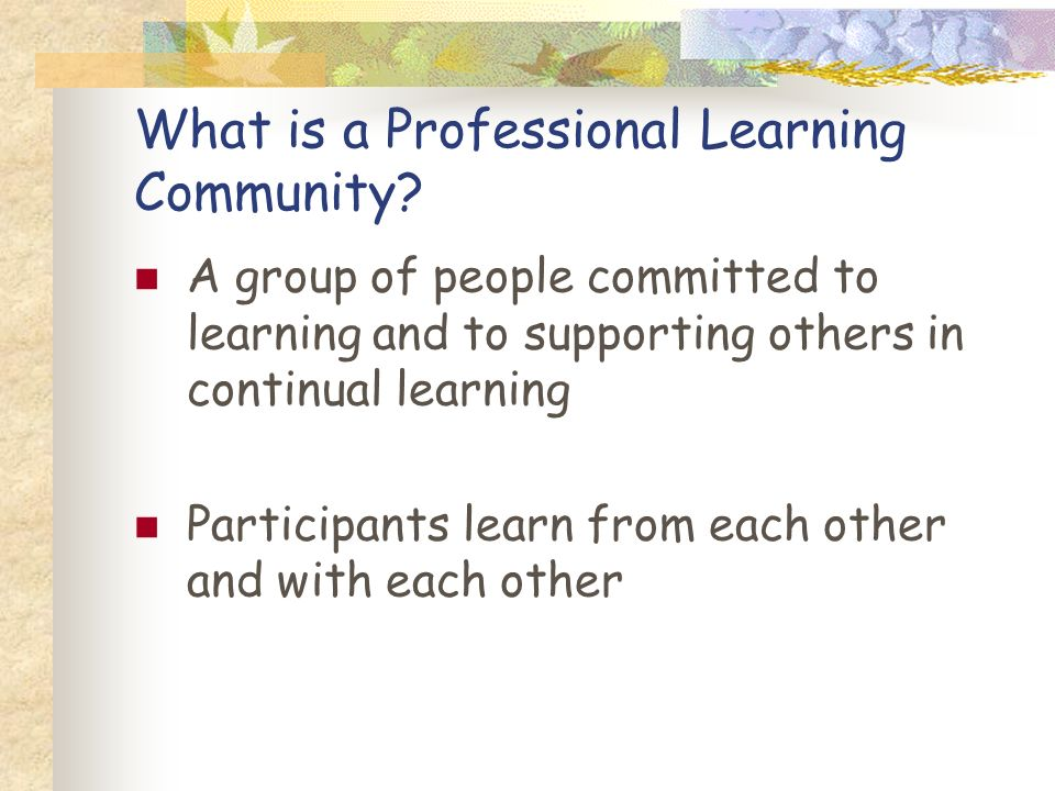 What is a Professional Learning Community? A group of people committed to learning and to supporting others in continual learning Participants learn f