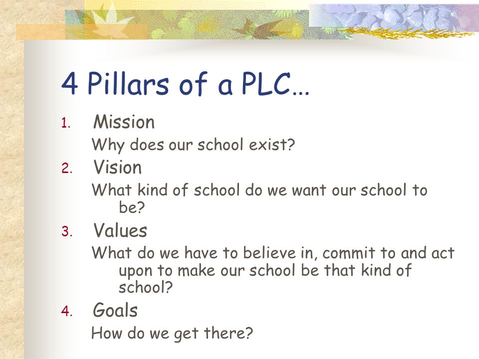 4 Pillars of a PLC… 1. Mission Why does our school exist? 2. Vision What kind of school do we want our school to be? 3. Values What do we have to beli