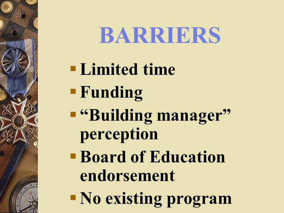 BARRIERS Limited time Funding Building manager perception Board of Education endorsement No existing program