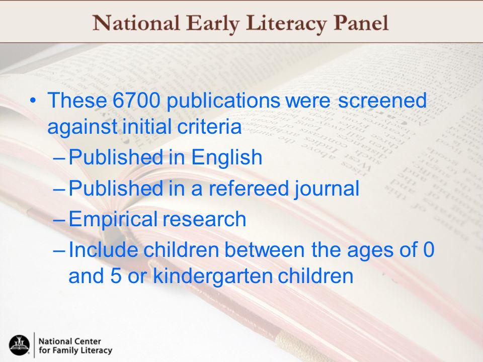 These 6700 publications were screened against initial criteria –Published in English –Published in a refereed journal –Empirical research –Include chi