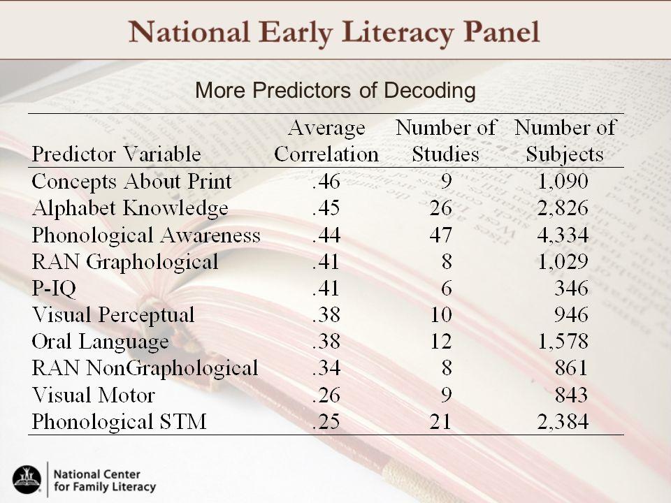 More Predictors of Decoding