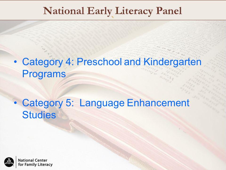 ` Category 4: Preschool and Kindergarten Programs Category 5: Language Enhancement Studies