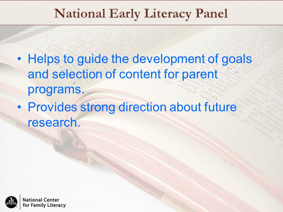 Helps to guide the development of goals and selection of content for parent programs. Provides strong direction about future research.