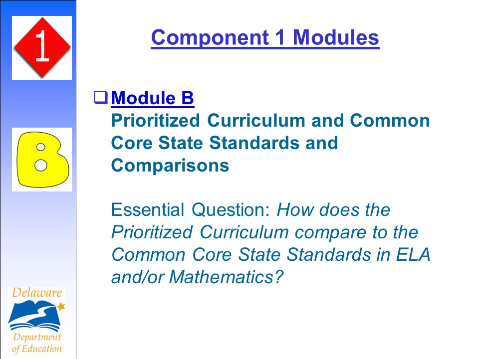 Component 1 Modules Module B Prioritized Curriculum and Common Core State Standards and Comparisons Essential Question: How does the Prioritized Curri