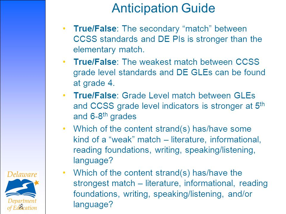 Anticipation Guide True/False: The secondary match between CCSS standards and DE PIs is stronger than the elementary match. True/False: The weakest ma