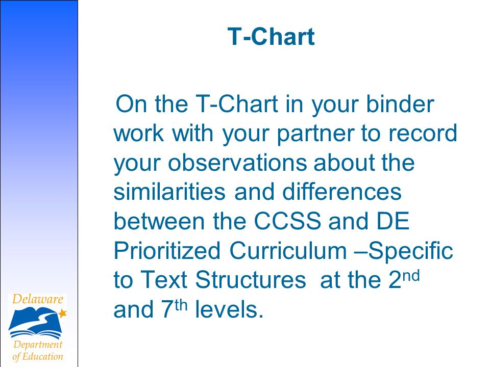 T-Chart On the T-Chart in your binder work with your partner to record your observations about the similarities and differences between the CCSS and DE Prioritized Curriculum –Specific to Text Structures at the 2 nd and 7 th levels.