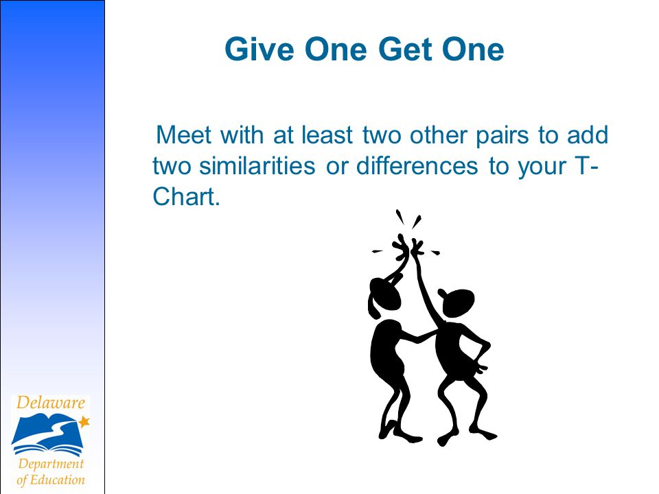 Give One Get One Meet with at least two other pairs to add two similarities or differences to your T- Chart.