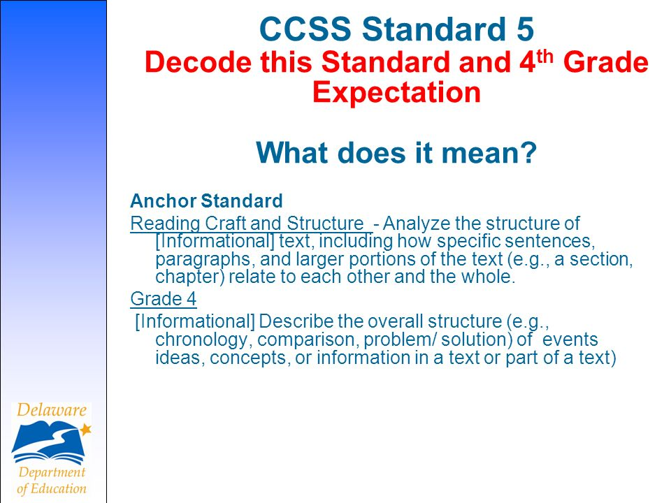 CCSS Standard 5 Decode this Standard and 4 th Grade Expectation What does it mean.
