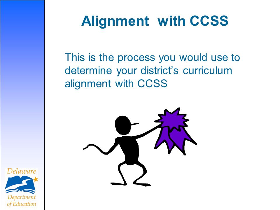 Alignment with CCSS This is the process you would use to determine your districts curriculum alignment with CCSS