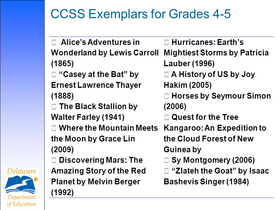 CCSS Exemplars for Grades 4-5 Alices Adventures in Wonderland by Lewis Carroll (1865) Casey at the Bat by Ernest Lawrence Thayer (1888) The Black Stallion by Walter Farley (1941) Where the Mountain Meets the Moon by Grace Lin (2009) Discovering Mars: The Amazing Story of the Red Planet by Melvin Berger (1992) Hurricanes: Earths Mightiest Storms by Patricia Lauber (1996) A History of US by Joy Hakim (2005) Horses by Seymour Simon (2006) Quest for the Tree Kangaroo: An Expedition to the Cloud Forest of New Guinea by Sy Montgomery (2006) Zlateh the Goat by Isaac Bashevis Singer (1984)