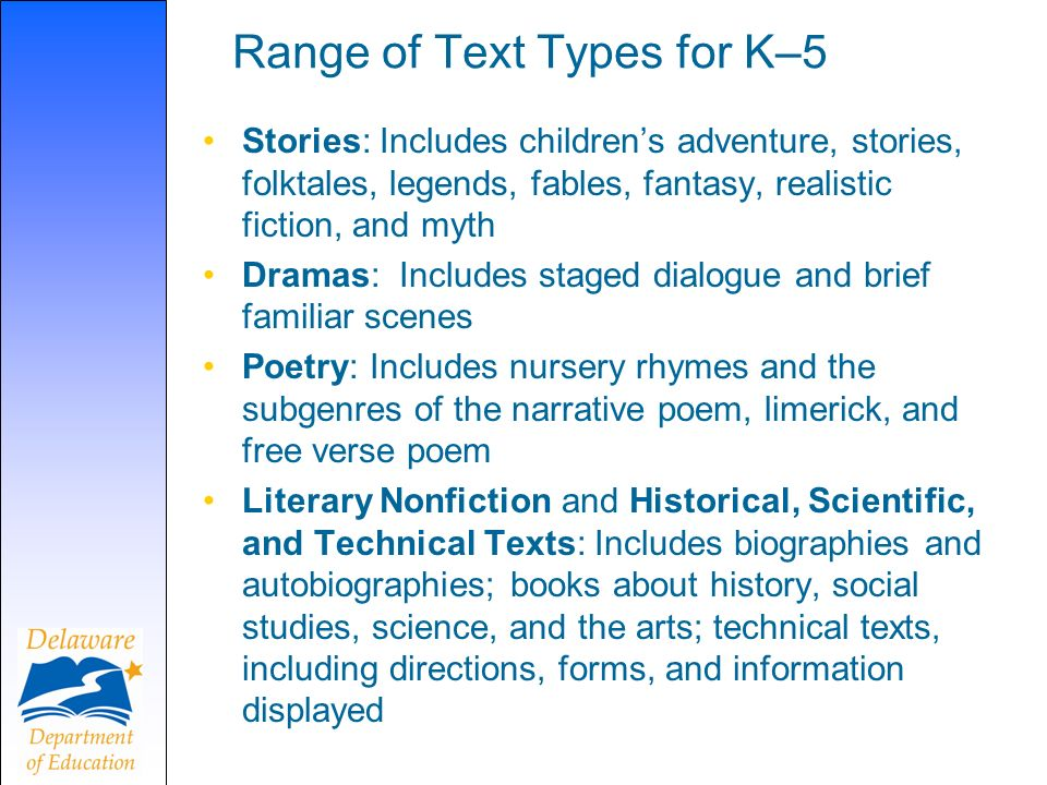 Range of Text Types for K–5 Stories: Includes childrens adventure, stories, folktales, legends, fables, fantasy, realistic fiction, and myth Dramas: I