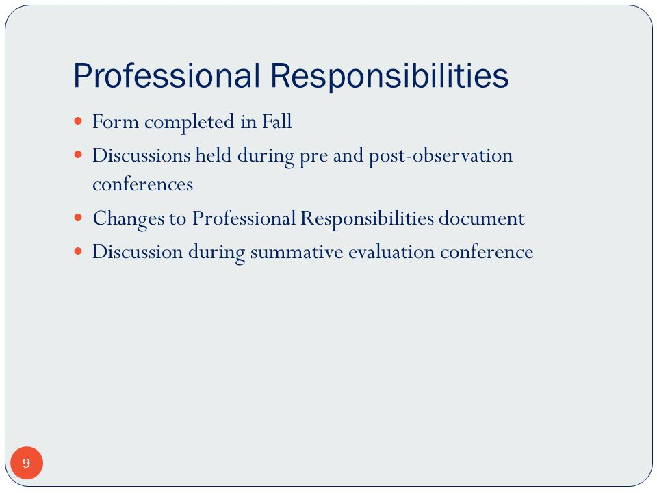 Professional Responsibilities Form completed in Fall Discussions held during pre and post-observation conferences Changes to Professional Responsibili