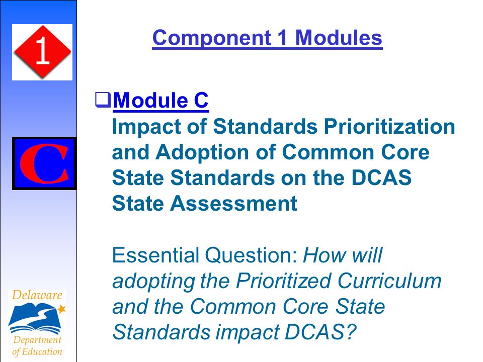 Component 1 Modules Module C Impact of Standards Prioritization and Adoption of Common Core State Standards on the DCAS State Assessment Essential Question: How will adopting the Prioritized Curriculum and the Common Core State Standards impact DCAS.