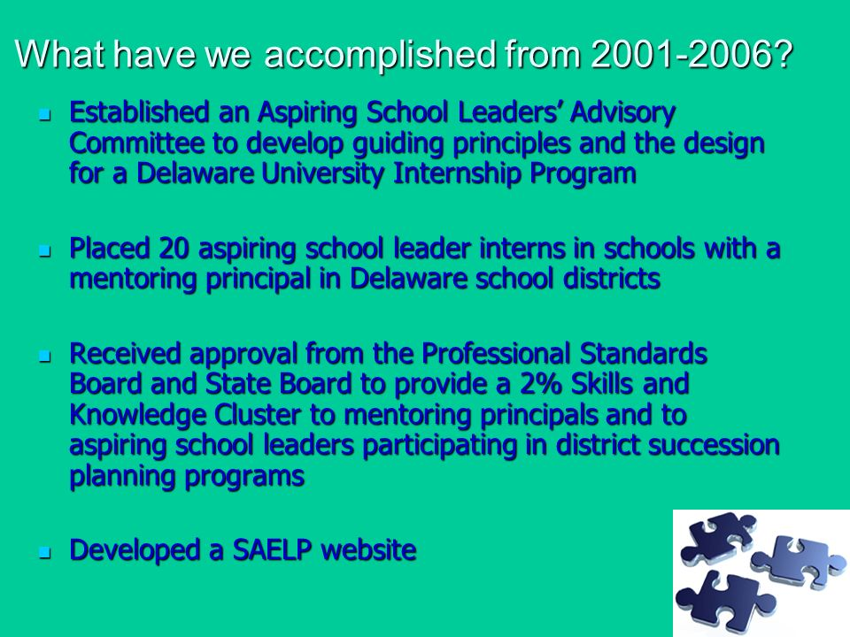 What have we accomplished from 2001-2006.