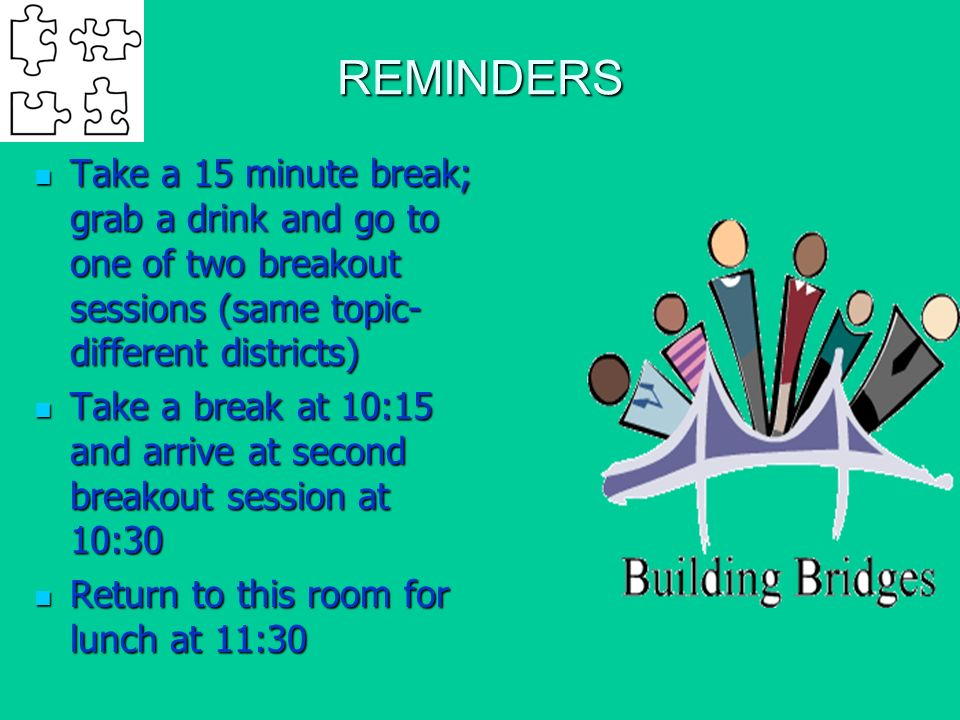 REMINDERS Take a 15 minute break; grab a drink and go to one of two breakout sessions (same topic- different districts) Take a 15 minute break; grab a drink and go to one of two breakout sessions (same topic- different districts) Take a break at 10:15 and arrive at second breakout session at 10:30 Take a break at 10:15 and arrive at second breakout session at 10:30 Return to this room for lunch at 11:30 Return to this room for lunch at 11:30