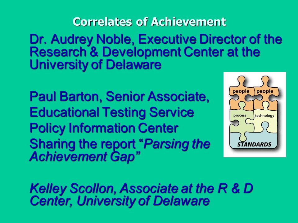 Correlates of Achievement Dr.