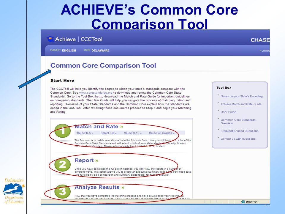 ACHIEVEs Common Core Comparison Tool 3