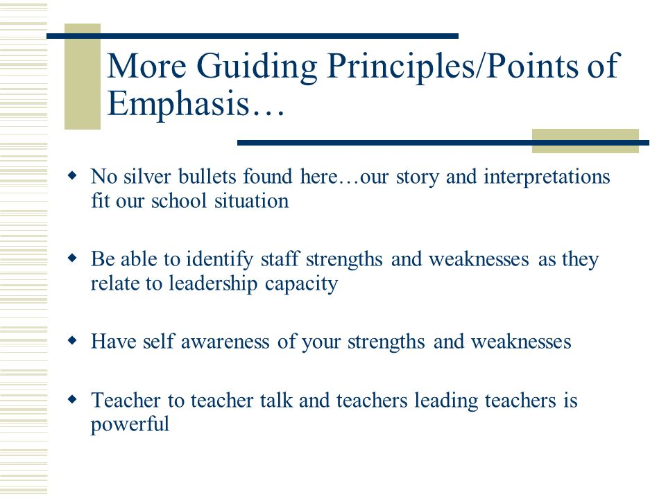 Guiding Principles/Points of Emphasis… Think Big…Start Small Avoid being resource rich /implementation weak It is about student achievement, student a