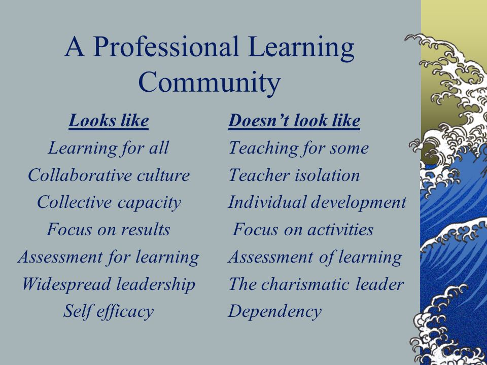A Professional Learning Community Looks like Learning for all Collaborative culture Collective capacity Focus on results Assessment for learning Widespread leadership Self efficacy Doesnt look like Teaching for some Teacher isolation Individual development Focus on activities Assessment of learning The charismatic leader Dependency