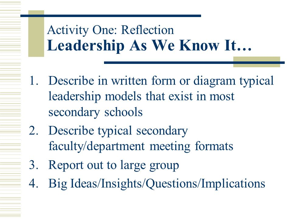 More Guiding Principles/Points of Emphasis… No silver bullets found here…our story and interpretations fit our school situation Be able to identify st