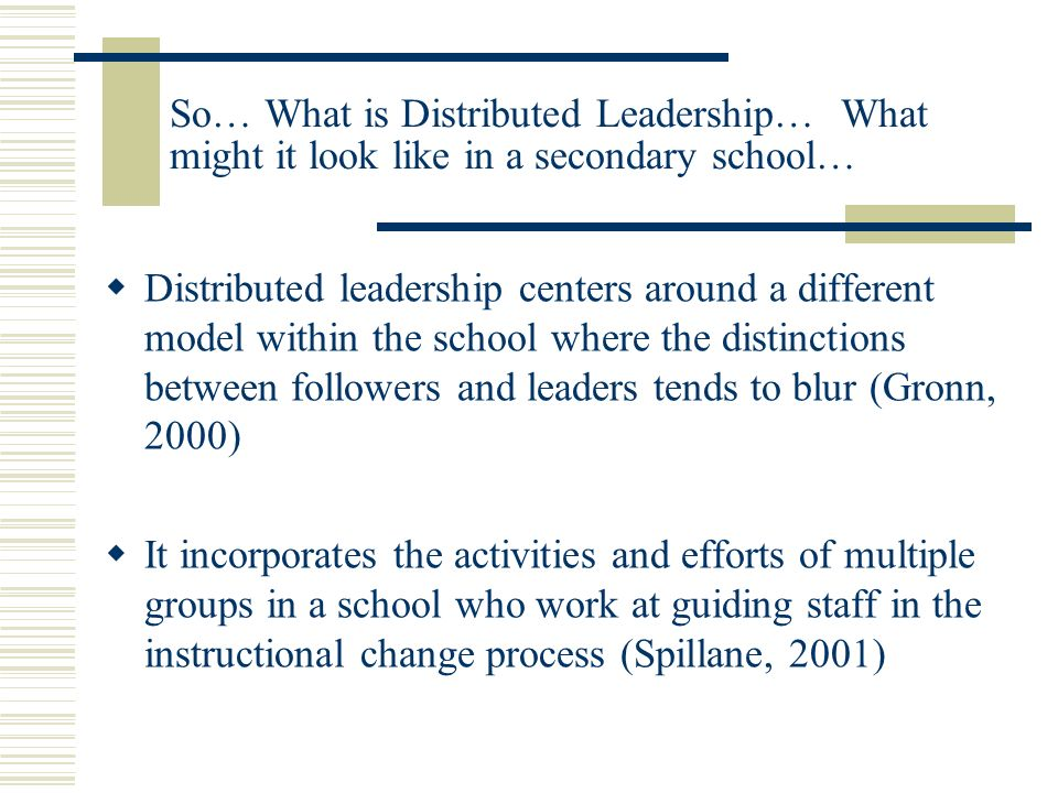 Activity One: Reflection Leadership As We Know It… 1.Describe in written form or diagram typical leadership models that exist in most secondary schools 2.Describe typical secondary faculty/department meeting formats 3.Report out to large group 4.Big Ideas/Insights/Questions/Implications