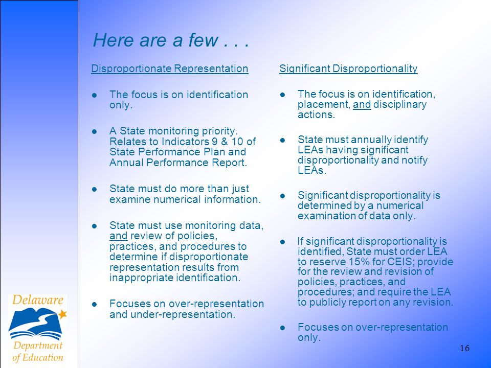 Here are a few... Disproportionate Representation The focus is on identification only. A State monitoring priority. Relates to Indicators 9 & 10 of St