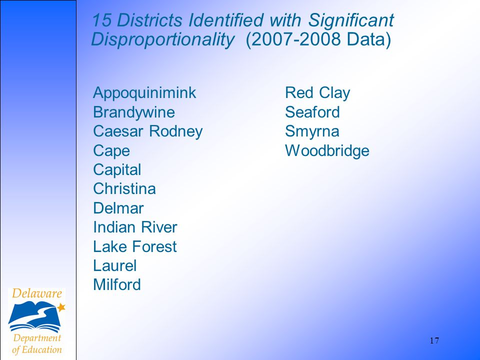 15 Districts Identified with Significant Disproportionality (2007-2008 Data) AppoquiniminkRed Clay BrandywineSeaford Caesar RodneySmyrna CapeWoodbridg