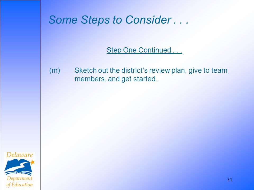 Some Steps to Consider... Step One Continued... (m) Sketch out the districts review plan, give to team members, and get started. 31
