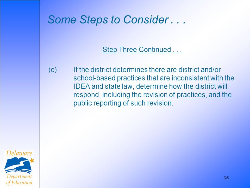 Some Steps to Consider... Step Three Continued... (c) If the district determines there are district and/or school-based practices that are inconsisten