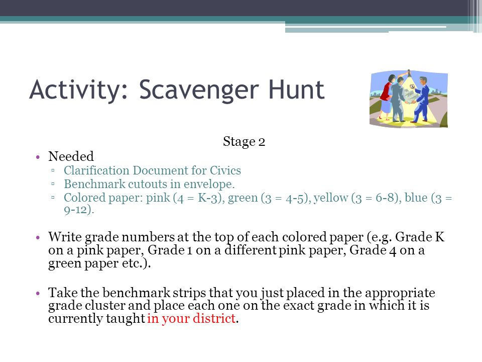 Activity: Scavenger Hunt Stage 2 Needed Clarification Document for Civics Benchmark cutouts in envelope.