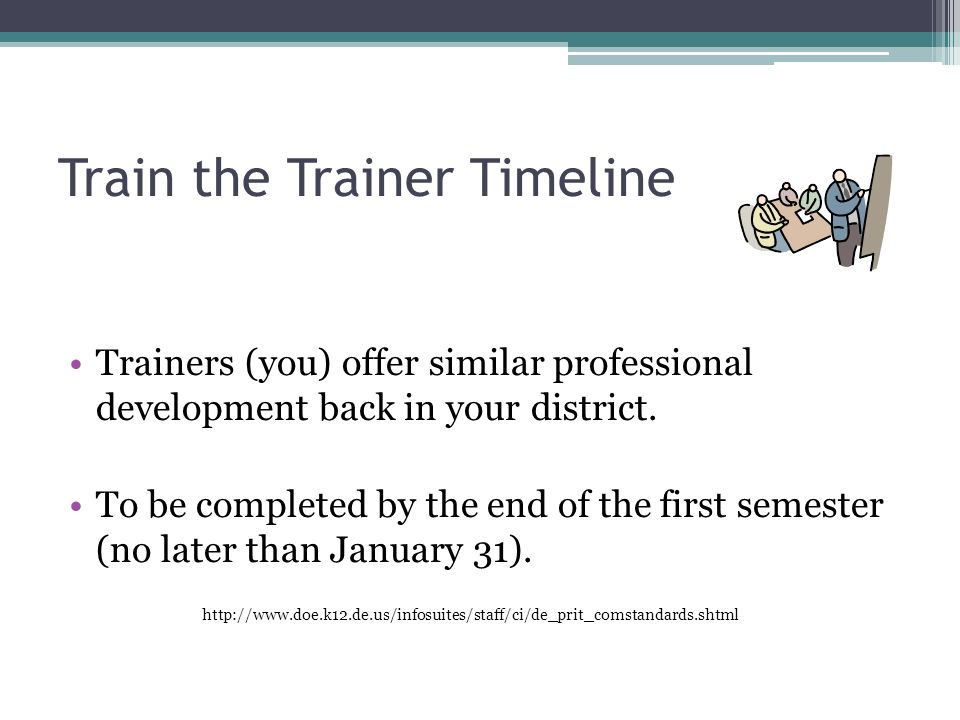 Train the Trainer Timeline Trainers (you) offer similar professional development back in your district.