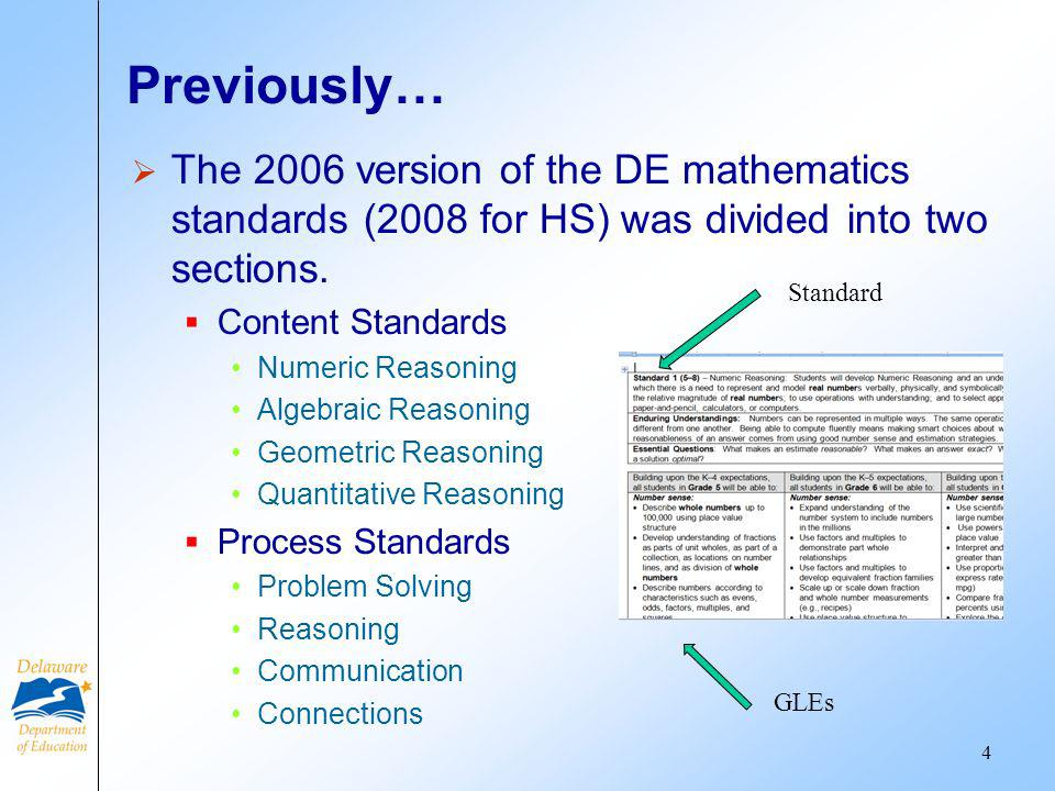 Previously… The 2006 version of the DE mathematics standards (2008 for HS) was divided into two sections. Content Standards Numeric Reasoning Algebrai