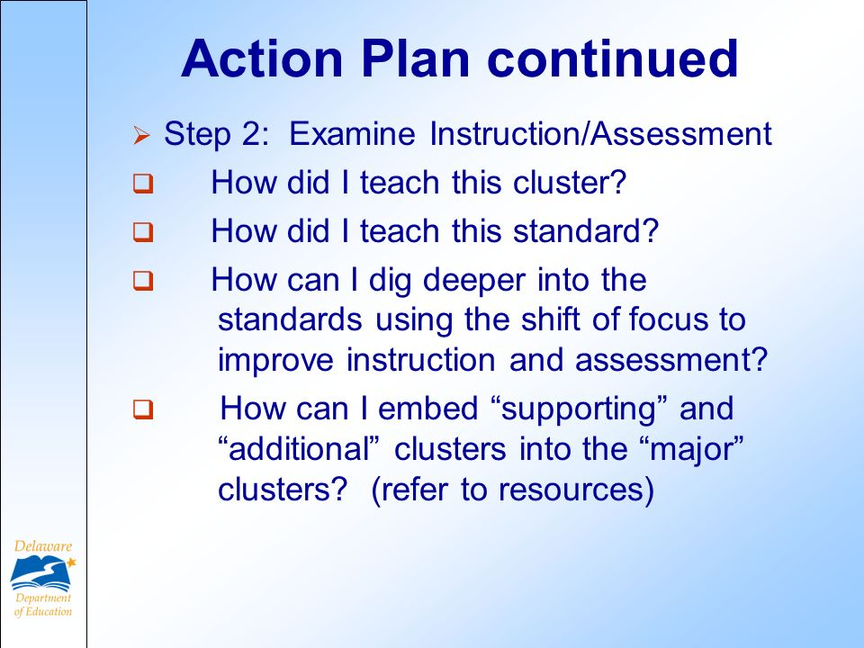 Action Plan continued Step 2: Examine Instruction/Assessment How did I teach this cluster.