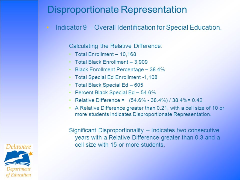 Disproportionate Representation Indicator 9 - Overall Identification for Special Education. Calculating the Relative Difference: Total Enrollment – 10