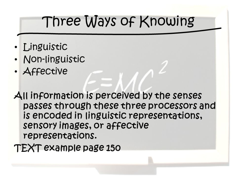 Three Ways of Knowing Linguistic Non-linguistic Affective All information is perceived by the senses passes through these three processors and is encoded in linguistic representations, sensory images, or affective representations.