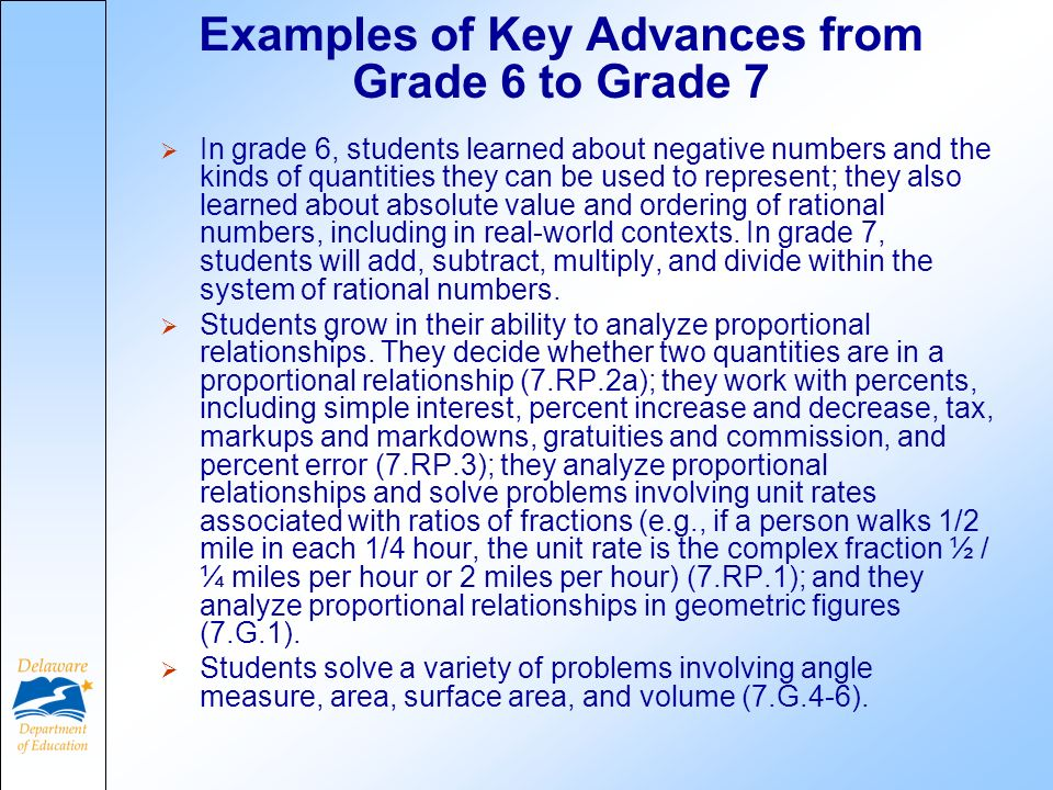 Examples of Key Advances from Grade 6 to Grade 7 In grade 6, students learned about negative numbers and the kinds of quantities they can be used to represent; they also learned about absolute value and ordering of rational numbers, including in real-world contexts.