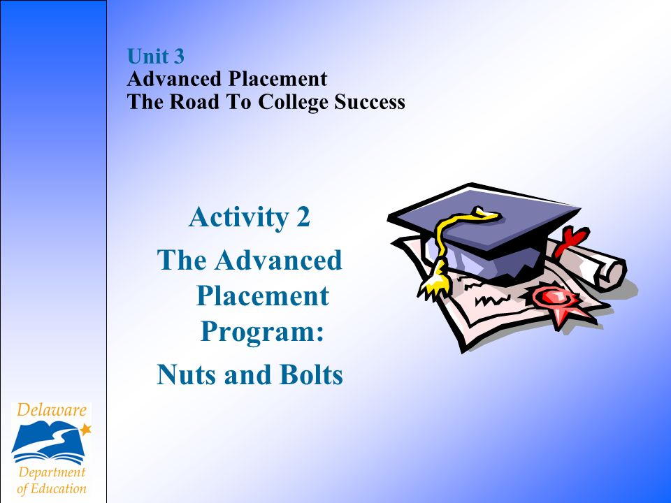Unit 3 Advanced Placement The Road To College Success Activity 2 The Advanced Placement Program: Nuts and Bolts