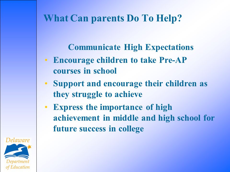 What Can parents Do To Help.