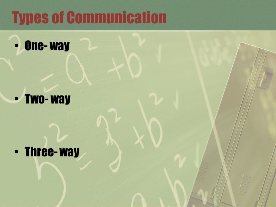 Types of Communication One- way Two- way Three- way